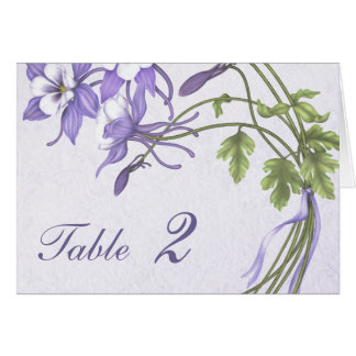 Columbine Bouquet Table Number Card