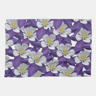 Columbine Flower Pattern Kitchen Towel
