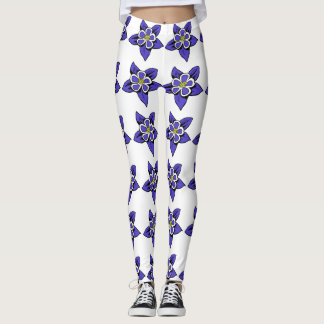 Columbine flower pattern leggings