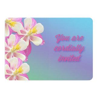 Columbine Flower Pink & White Birthday Invitation
