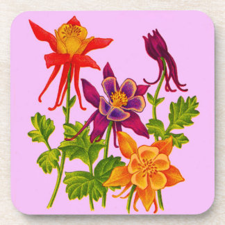 columbine flowers coaster