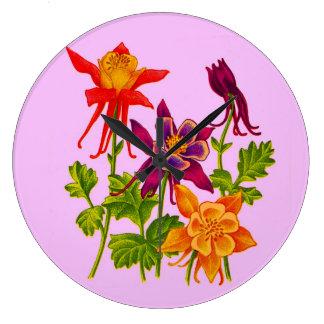 columbine flowers large clock