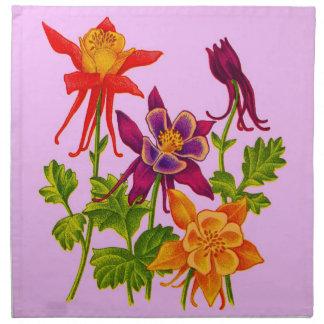 columbine flowers napkin