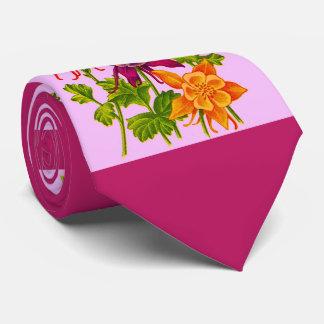 columbine flowers print tie
