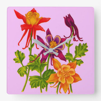 columbine flowers square wall clock