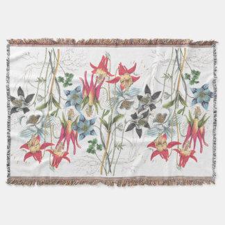 Columbine Flowers Throw Blanket