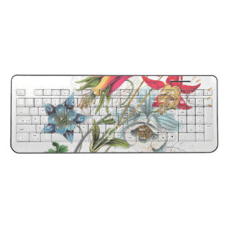 Columbine Flowers Vintage Wireless Keyboard