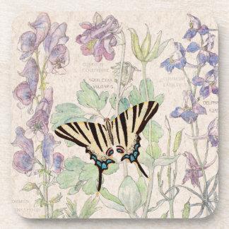 Columbine Flowers Wildlife Butterfly Coaster