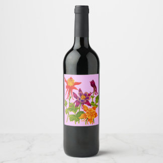 columbine flowers wine label