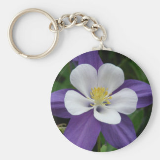 Columbine Purple and White Flower Keychain