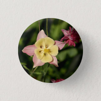 Columbine with Star Shaped Leaves 1 Inch Round Button