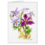 Columbines lilas et iris imberbe pourpre cartes de vœux