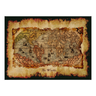 Columbus Aged Old World Map Art Poster