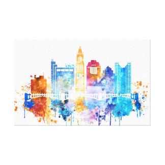 Columbus artistic print, Columbus Ohio skyline, wa Canvas Print