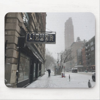 Columbus Avenue Liquor Store NYC Snowstorm Winter Mouse Pad