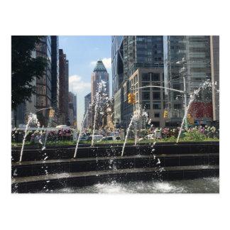 Columbus Circle Fountain New York NYC Postcard