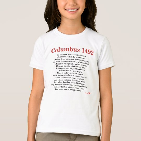 Columbus day poem rhyme 1492 t shirt for Columbus ohio t shirt printing