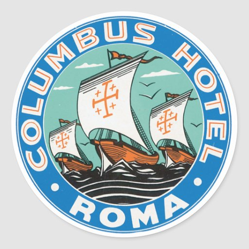 Columbus Hotel Roma Round Stickers
