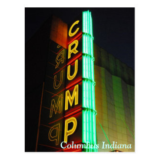 Columbus Indiana Crump Theatre Postcard