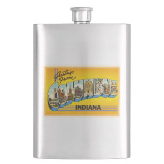 Columbus Indiana IN Old Vintage Travel Souvenir Flask