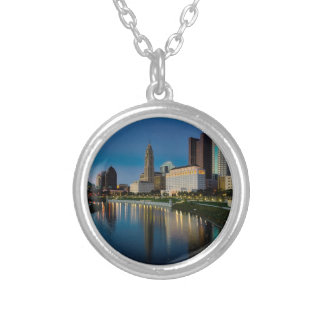 Columbus Night Skyline Silver Plated Necklace