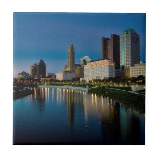 Columbus Night Skyline Tile