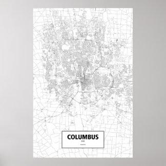 Columbus, Ohio (black on white) Poster