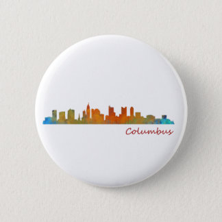 Columbus Ohio, City Skyline, v1 2 Inch Round Button