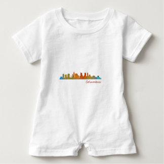 Columbus Ohio, City Skyline, v1 Baby Romper