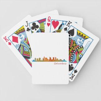 Columbus Ohio, City Skyline, v1 Bicycle Playing Cards