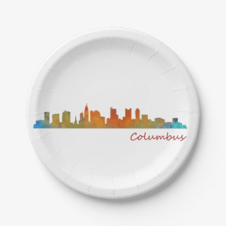 Columbus Ohio, City Skyline, v1 Paper Plate