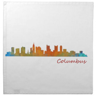 Columbus Ohio, City Skyline, v1 Printed Napkins