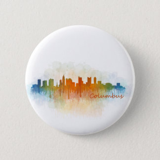 Columbus Ohio, City Skyline, v3 2 Inch Round Button