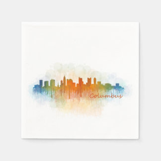 Columbus Ohio, City Skyline, v3 Disposable Napkins