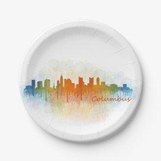 Columbus Ohio, City Skyline, v3 Paper Plate