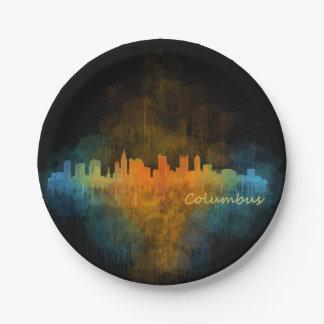 Columbus Ohio, City Skyline, v4 Paper Plate