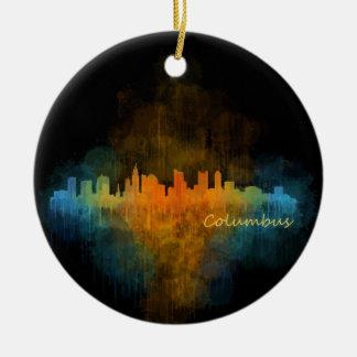 Columbus Ohio City Skyline. Watercolor Cityscape 4 Ceramic Ornament