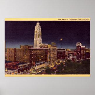 Columbus Ohio night scene Poster