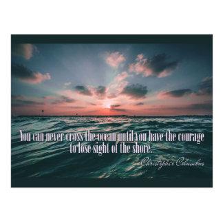 Columbus Quote Sunset postcard