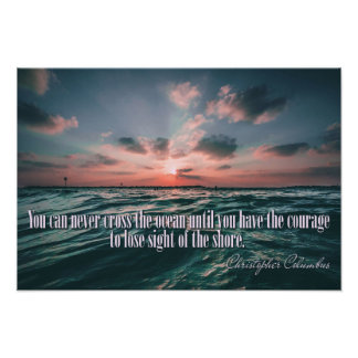 Columbus Quote Sunset poster