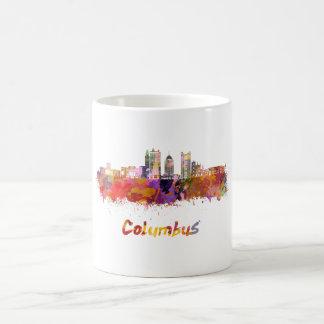 Columbus V2 skyline in watercolor Coffee Mug