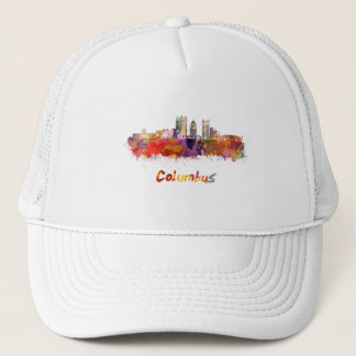 Columbus V2 skyline in watercolor Trucker Hat