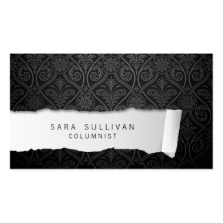 Columnist Ripped Paper Damask Publishing Business Card