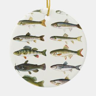 Columns of Fish Ceramic Ornament
