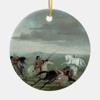 Comanche Feats of Martial Horsemanship, 1834 (oil Round Ceramic Ornament