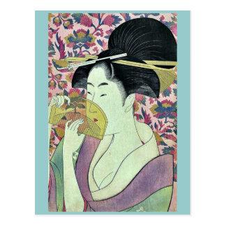 Comb by Kitagawa, Utamaro Ukiyoe Postcard