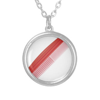 comb comb silver plated necklace