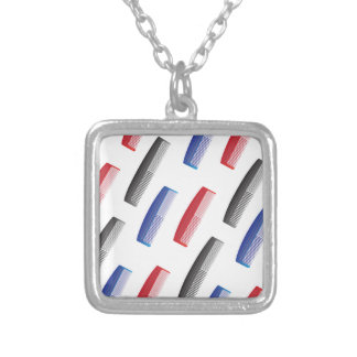 comb pattern silver plated necklace