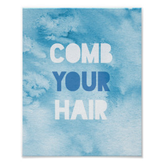 """""""comb your hair"""" watercolour print"""