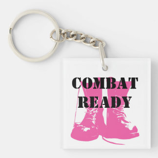 Combat Ready Pink Military Boots Keychain